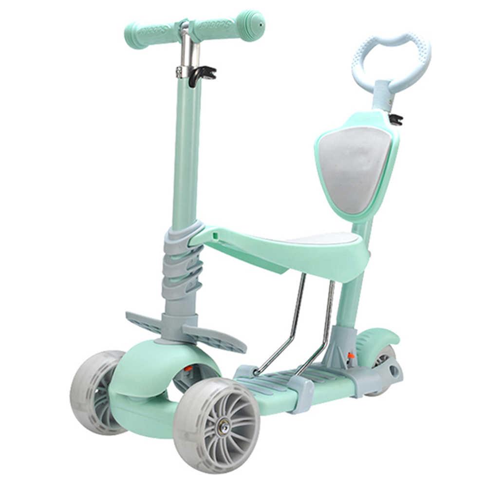 Baru Kedatangan 5 In 1 Double Mode Scooter dengan Tiga Roda untuk Anak-anak Duduk Naik dengan Lampu-Emitting Aluminium paduan Anak Skuter
