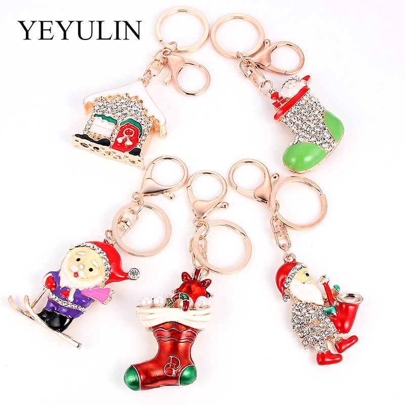 Fashion Christmas Theme Pendant Charm Keychain For New Year Gift Decorate Bag Car Key Christmas