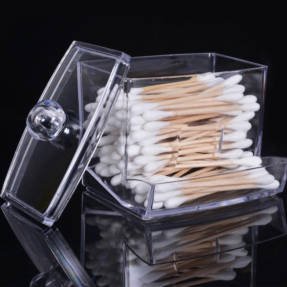Acrílico compõem organizador transparente cotonete de algodão caixa de armazenamento caixa de armazenamento recipiente portátil organizador de maquiagem recipiente de jóias