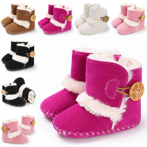 Fashion Newborn Kid Baby Girl Boy Snow Shoes Winter Soft Sole Prewalker Crib Plush Boots Solid Cotton Cute