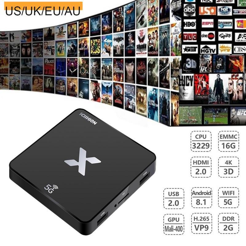 SCISHION X 2GB+16GB Android 8.1 TV BOX RK3229 Quad Core WiFi 4K Media w//Keyboard