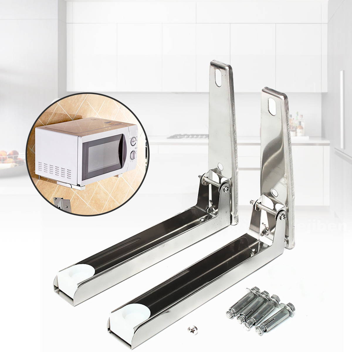 Stainless Steel Microwave Foldable Oven Shelf Rack Support Frame Stretch Adjustable Wall Mount Bracket Holder Kitchen Storage