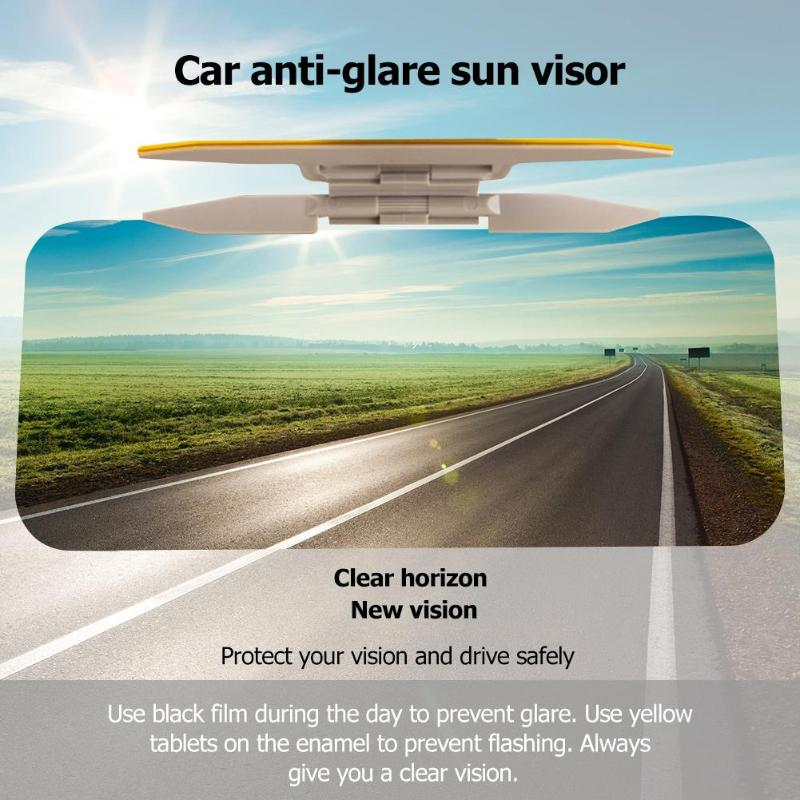 New 2 In 1 Car Universal Sun Visor HD Anti Glare Dazzling Goggle UV Blocker Day Night Vision Clear View Driving Mirror
