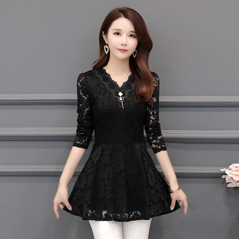2018 New Arrival Fashion Spring Long Sleeve Women Lace Blouse SHIRT Female Hollow Plus Size 5XL V-neck Solid Elegant Blouse