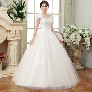 Image 4 - 긴 웨딩 드레스 2020 새로운 화이트 간단한 그레이스 섹시한 보트 넥 캡 슬리브 레이스 appiques 층 길이 볼 가운 신부 드레스