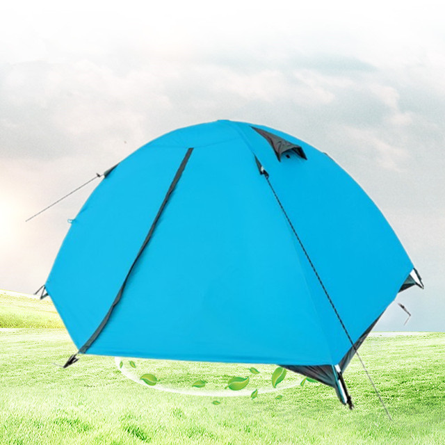 Ultralight Strong Aluminium Pole Mountain Camping Tent 2-3 Person Double Layer Rainproof Outdoor Tent for Lovers' Hiking Trip