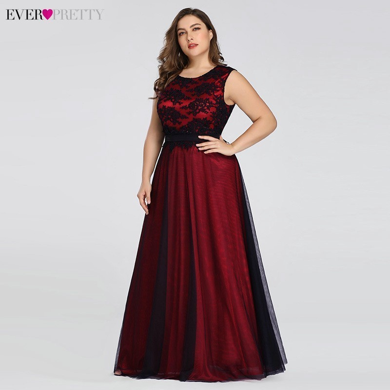 Plus Size Burgundy Prom Dresses Long Ever Pretty A-Line Lace Sleeveless Sashes Prom Dresses For Women Elegant Party Gowns 2020