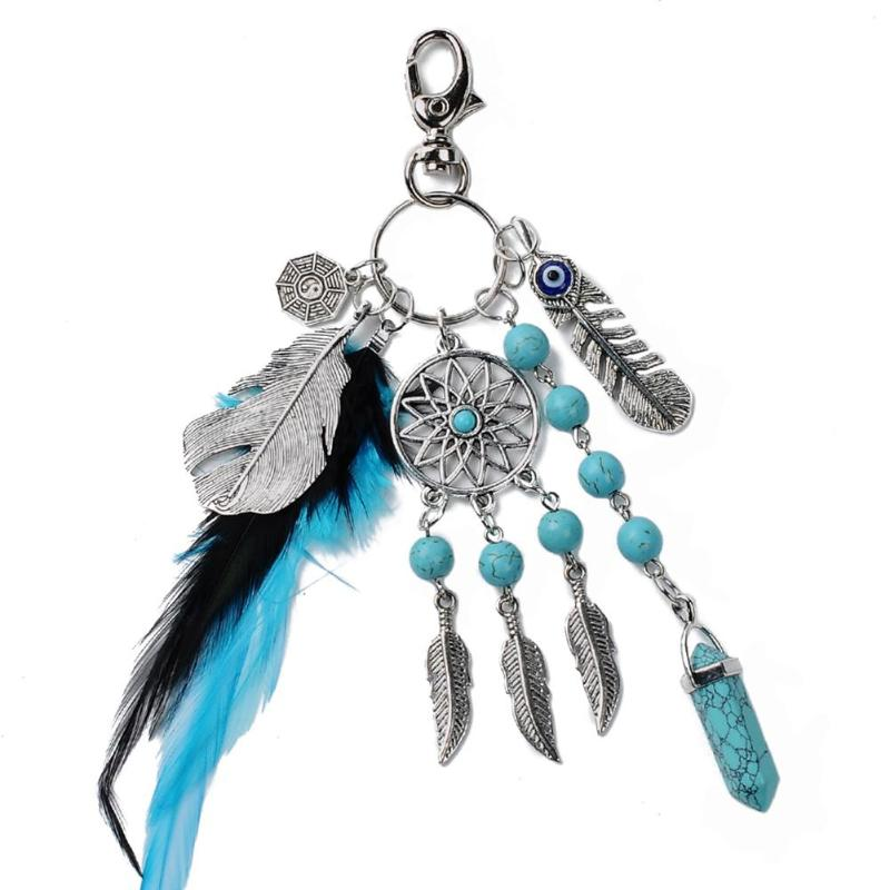Natural Turquoise Dreamcatcher Keychain for Car Ornament Retro Feather Leaf Dream Catcher Car Key Chain Ring Auto Accessories