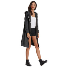 Gk Women's Casual Long Sleeve Zipper Front Hooded Long Coat Fixed Hood With Drawstring Around Fashion Casual Women Coat Jacket