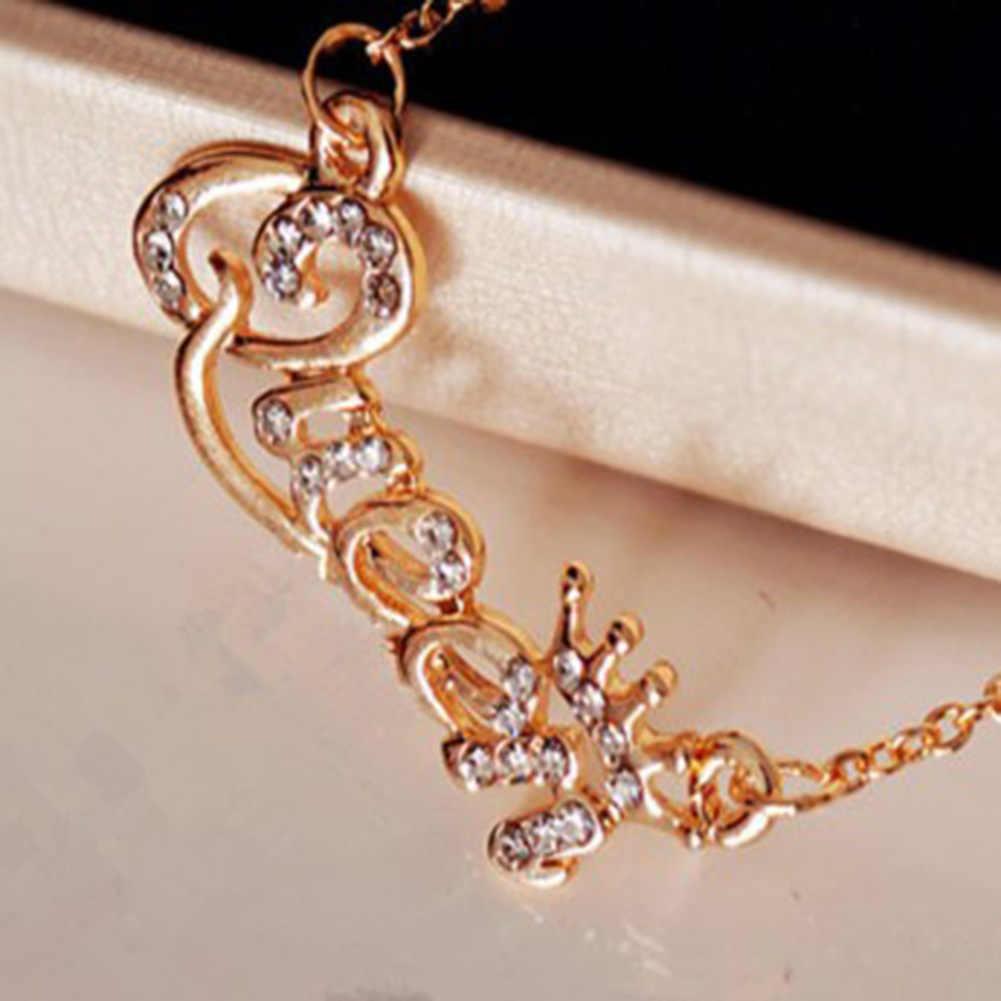 高級ゴールドカラーの女王クラウンチェーンネックレスジルコンクリスタルネックレス女性のファッションジュエリーの誕生日プレゼント