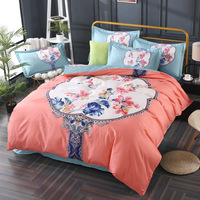 Classic Flower Bedding Sets Sheet Pillowcases and Duvet Cover Sets Bed Linen Queen Size Bedding Set Boho Pink Floral Decor 40
