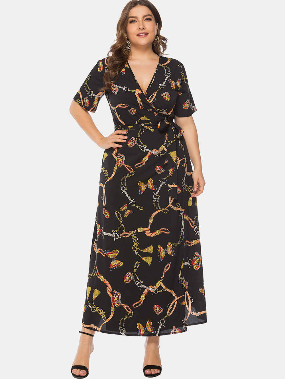 Wipalo Women Plus Size 6XL Butterfly Printed Wrap Maxi Dress Casual Summer  Ladies Dress Plunging Neck eba6c7e1a477