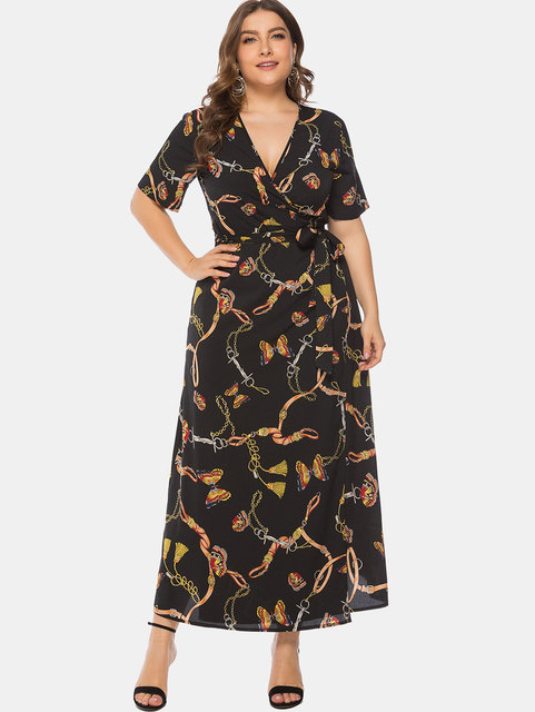 US $15.82 45% OFF|Wipalo Women Plus Size 6XL Butterfly Printed Wrap Maxi  Dress Casual Summer Ladies Dress Plunging Neck Belted Big Size Vestidos-in  ...