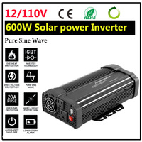 New Solar Power Inverter 1200W 12V DC To 110V AC Pure Sine Wave Converter Charger Converter Steady Durable Vehicle Power Supply