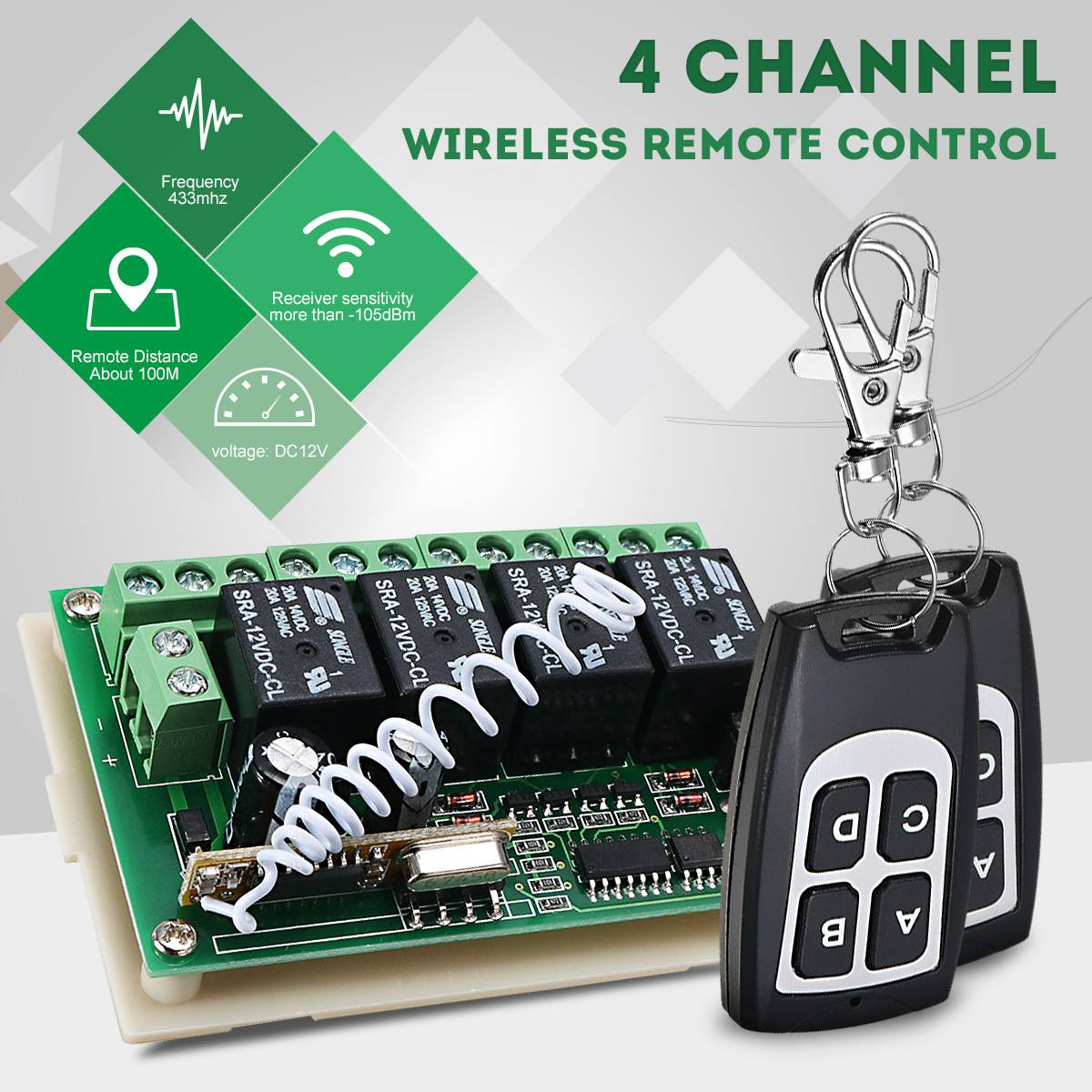 CLAITE 12V 4CH Channel 433Mhz Wireless Remote Control Switch Integrated Circuit With 2 Transmitter DIY Replace Parts Tool Kits(China)