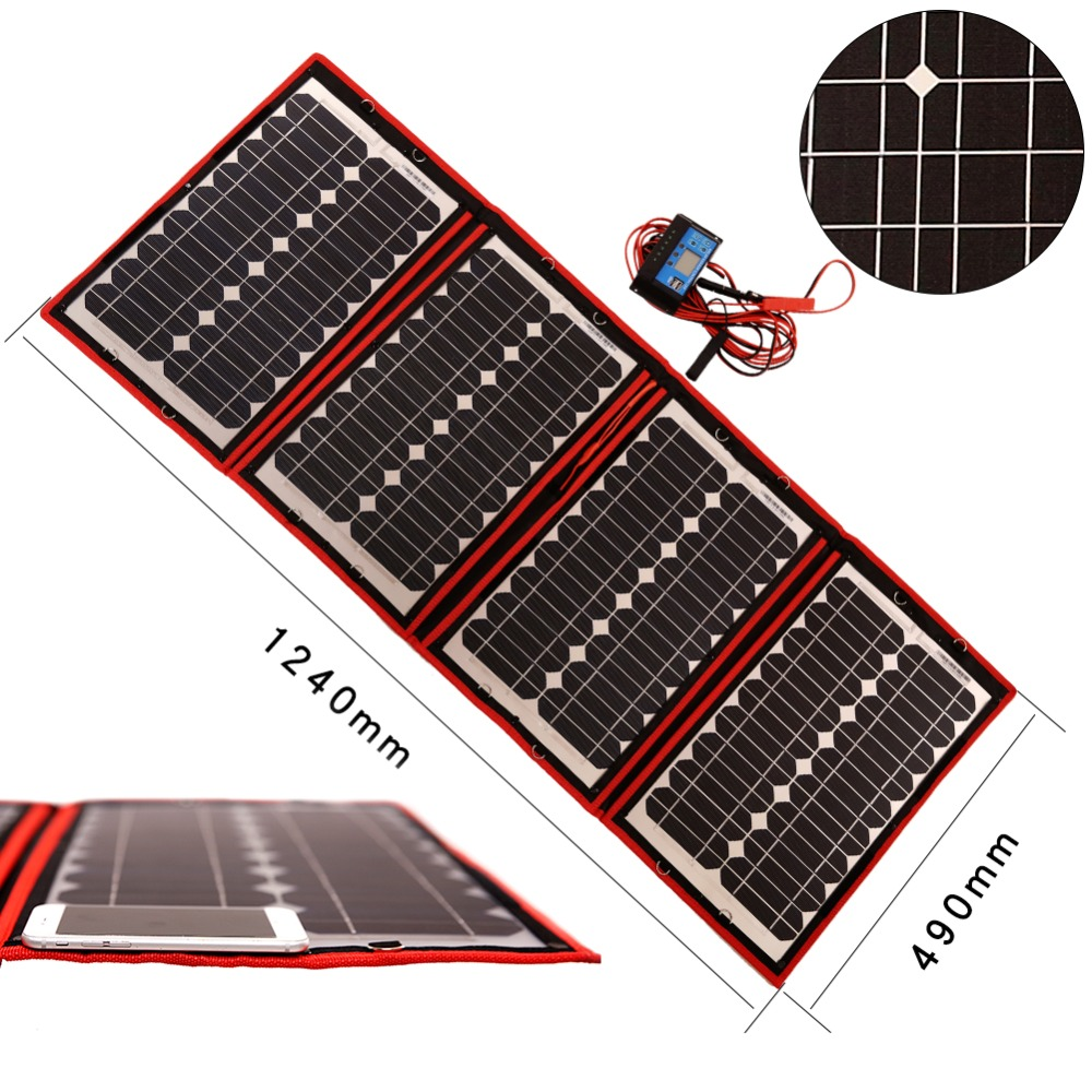 Dokio Flexible Solar Panels 60W 18V Foldable Solar Panel (15Wx4Pc) DC 12Volt battery 60Watt Panels Solar Kits China panel charge