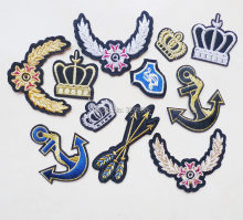 1 Pcs Cartoon Shield Queen Crown Sequin Embroidery Iron On Patches Sewing For Clothing Stickers Shirt Fabric Accessories Badges(China)