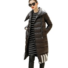 Down Jackets Long 2018 Printing Slim Thin Overknee Parka Overlength Lapel Loose Black Feather Coat Manteau Femme Hiver HJ53