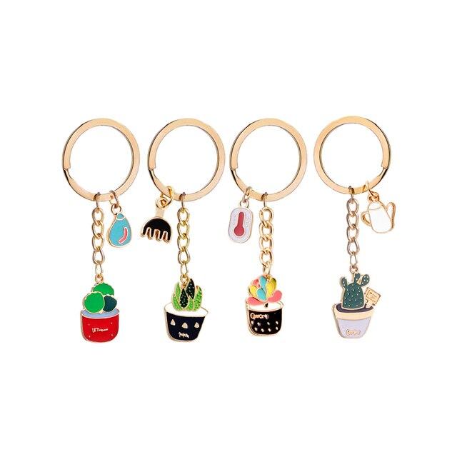 4 pcs Bonito Cactus Plantas Pingentes Chave Anéis da Cadeia de Anel Chave Chaveiro Pingente Chaveiro de Metal Pingentes Para Pais Amigos Do Amante