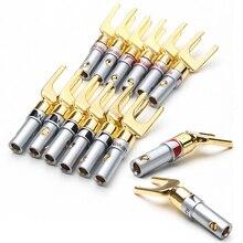 12 sztuk Nakamichi pozłacane Y/u type wtyki bananowe zestaw złącze przewodu kablowego widelec Spade głośnik przejściówka adapter Audio terminale Kit