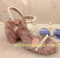 New Spring Summer Shoes Woman Design Silk Sweet High Square Heels Sandals Sheep Curly Wool Pearls Party Wedding Slides T