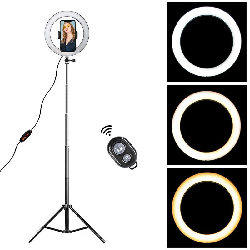 Dimmable LED Ring Light 8.6 inch Camera Ringlight Tripod Stand Cell Phone Holder For YouTube Photography Photo Video Studio Kit