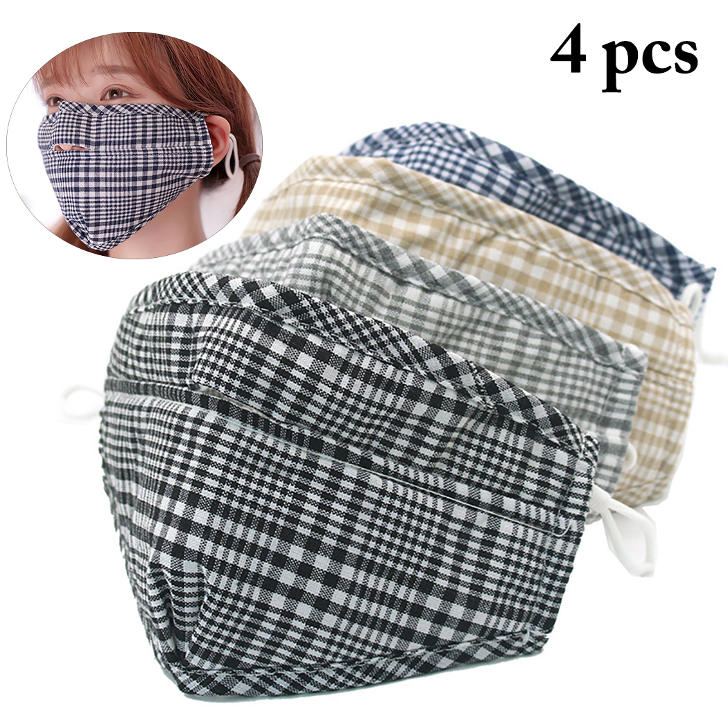 4pcs Mouth Masks Breathable Fashion Plaid Windproof Winter Warm Masks Cotton Mask Face Cover Outdoor Riding Mask