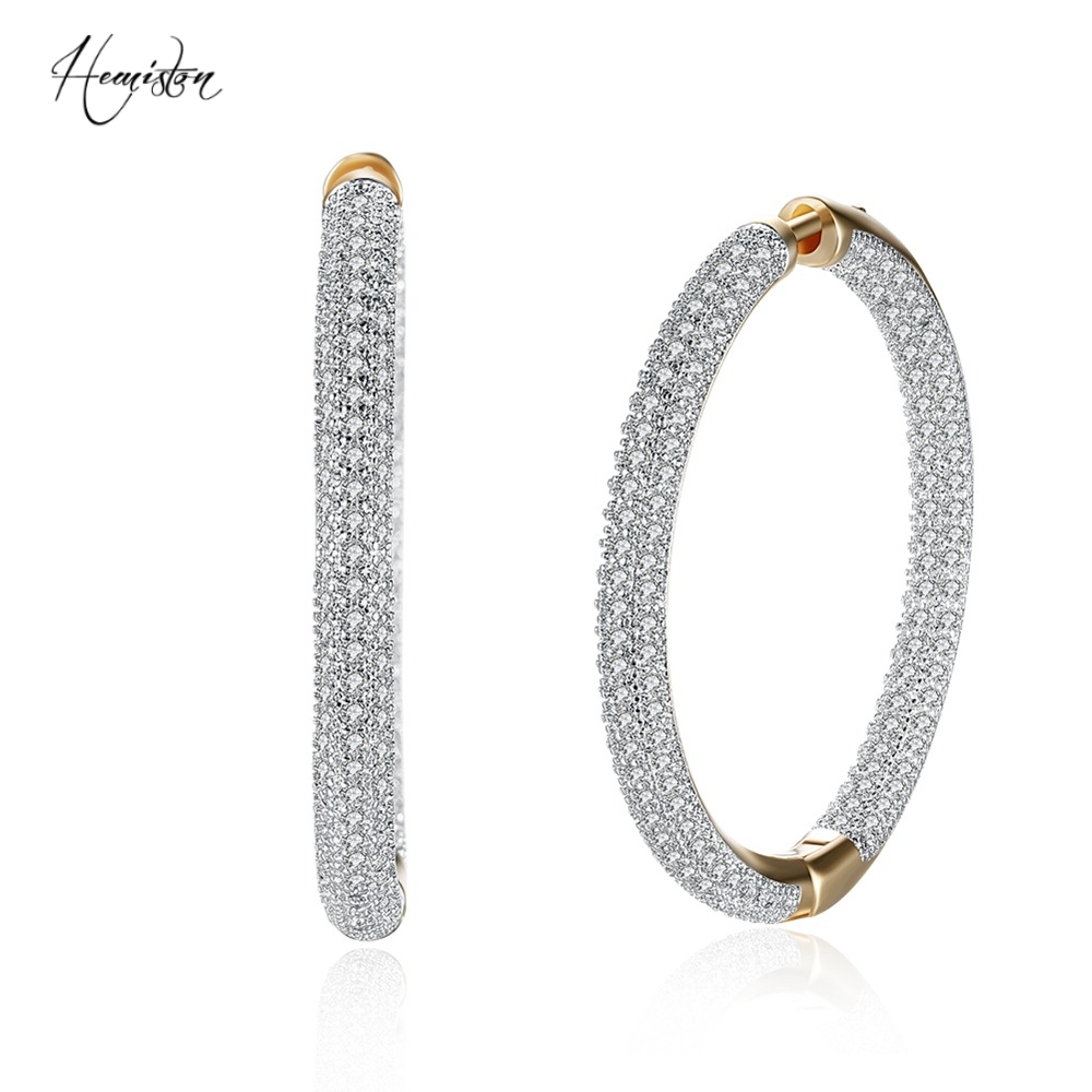 Hemiston Top Quality Luxury Big  Full Paved Cubic Zirconia Creole Hoop Earrings, Romantic Jewelry Gift For Women Brincos TF 126E