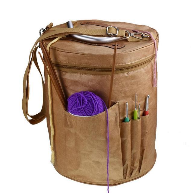 d02d3855413e US $17.42 |Wool Storage Bag Knitted Basket Weaving Round Basket Tool Tote  Line Yarn Crochet Thread Hanging Organizer Box-in DIY Apparel & Needlework  ...