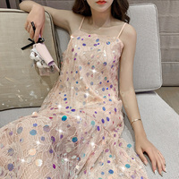 Sequined Fairy Lace Camis Dress Women Sleeveless Summer Straight Pink Bling Tank Dresses With Linning GT3861