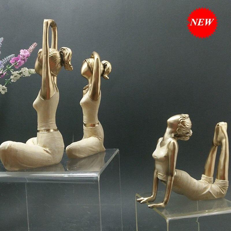 Décoration de la maison Kawaii Yoga Figurine fille rêve moderne résine maison Sculpture poupées résine Yoga beauté filles mariage artisanat cadeau