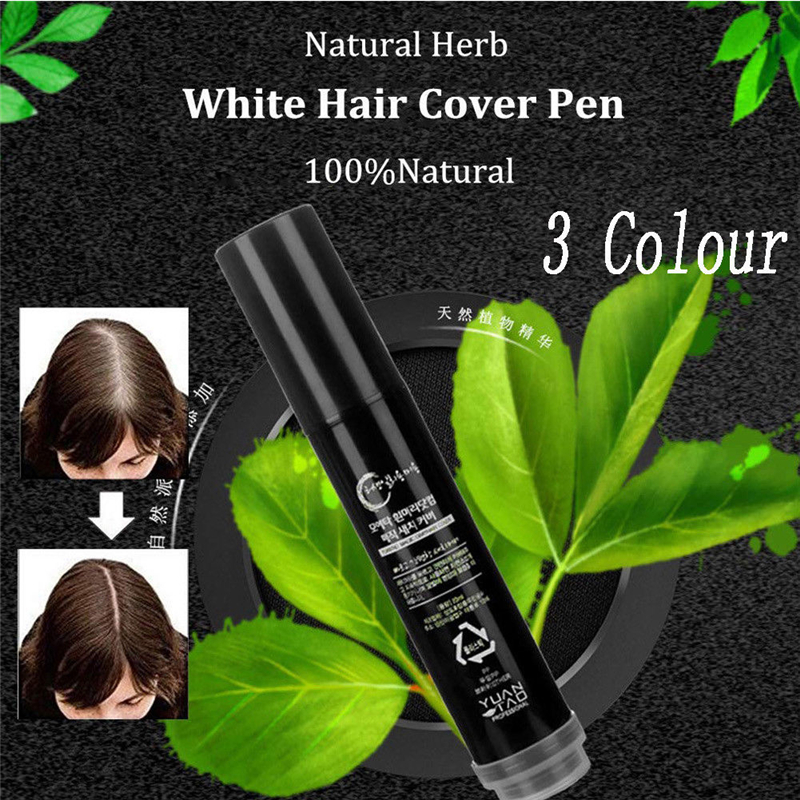 Non-toxic Natural Herb White Hair Cover Pen Long-Lasting Brown Coffee Temporary