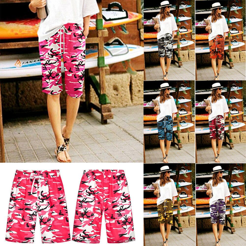 Women Summer Casual Loose Camo Shorts Beach Drawstring Waist Camouflage Hot Plus Size