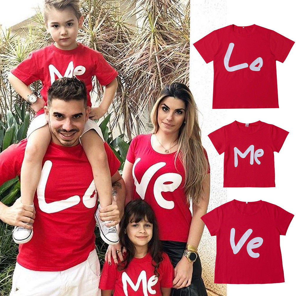 2019 Newly Family Matching Summer T Shirt Tee Red Adult Women Kids Pullover Short Sleeve Tshirt Top