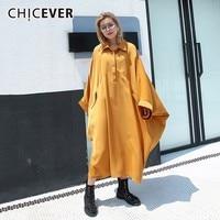 CHICEVER Autumn Dress Female Peter Pan Collar Batwing Sleeve Hem Irregular Loose Oversize Dresses For Women Fashion Tide New