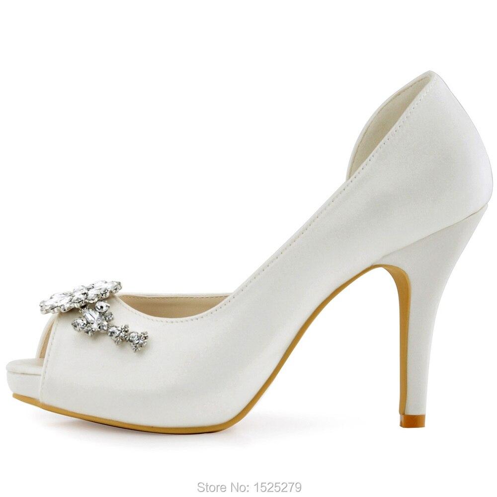 HP1552I femmes chaussures taille 7 ivoire mariée soirée fête D'orsay plate-forme à talons hauts cristal dames mariée demoiselle d'honneur chaussures de mariage - 2