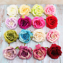 11cm high-grade large-size rolled-edged rose head wholesale hand-made DIY false flower silk cloth