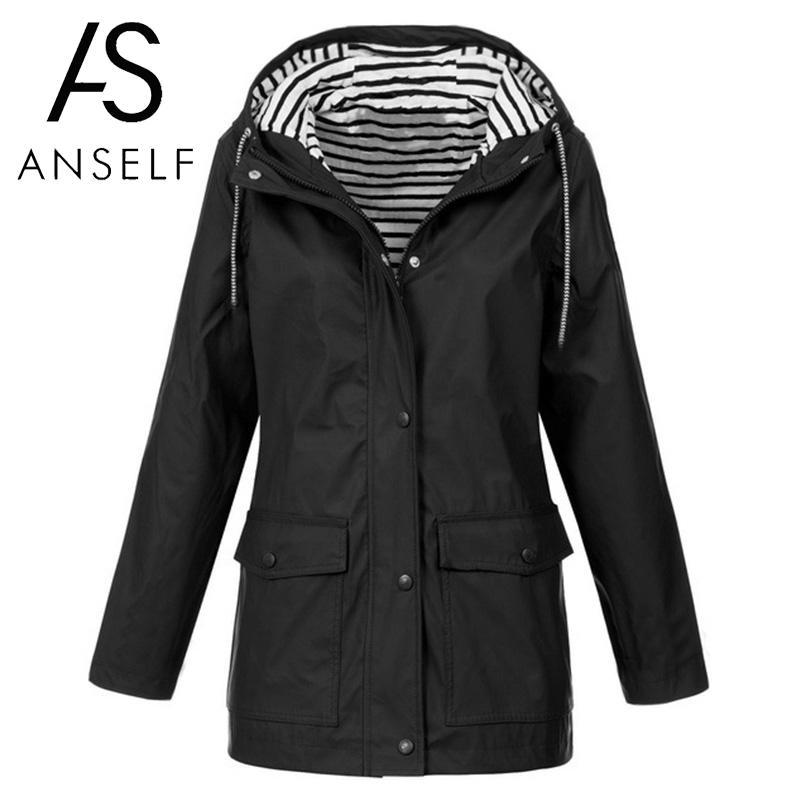 3XL 4XL 5XL Plus Size Coat Women Hooded   Trench   Coat Striped Inside Drawstring Pocket Long Coat female tunics 2019 Winter Coats