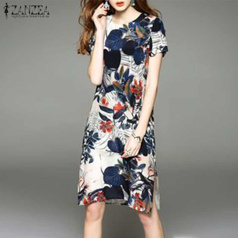 Summer ZANZEA Women Floral Printed Short Sleeve Casual Loose Split Hem Dress Vintage Female Midi Vestido Robe Femininas Sundress