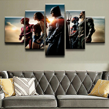 Canvas Printed 5 Panel Movie Justice League Modular Picture Poster Home Decor Modern Artwork Wall Art Painting For Living Room