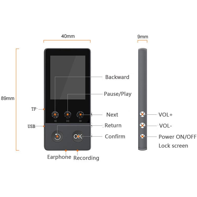 Lecteur de musique sans perte HIFI musique Audio sport lecteur MP3 bluetooth APE/FLAC/WAV Support carte TF avec enregistreur Radio FM eBook - 6