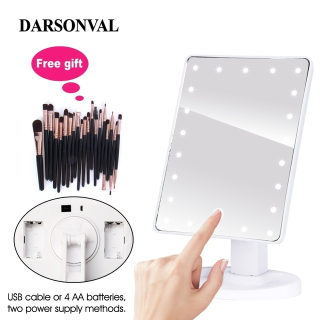 LED Professional Lighted Makeup Mirrors With Adjustable LED Light 16/22 Touch Screen Mirrors For Beauty Makeup Eyelash Brush