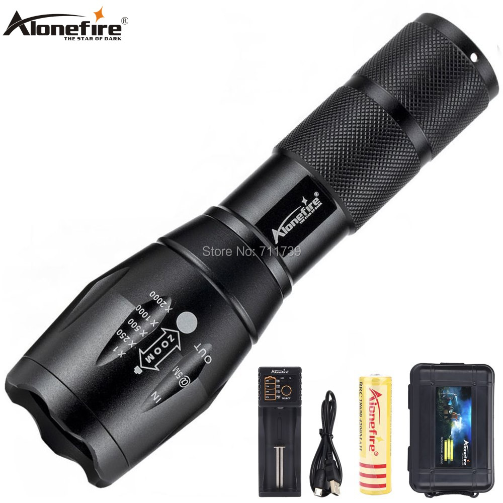 AloneFire E17 Led Flashlight 9000 Lumens Flashlight LED CREE XP-L V6 Torch Zoomable Flash Light Lamp Lighting For 18650 Battery