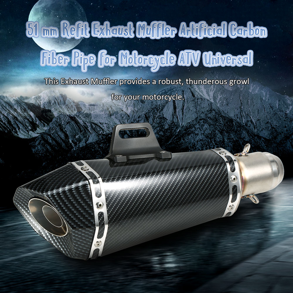 51 mm Refit Exhaust Muffler Artificial Carbon Fiber Muffler Pipe Small Hexagon Style for Motorcycle ATV