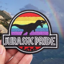 Pulaqi Jurassic Park Rainbow World Iron On Patches For Clothes T-shirt Overcoat Dinosaur Patch Kids Men Decoration F