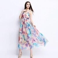2019 летний женский сарафан элегантный печати без бретелек роскошные бриллианты натуральное шелковое платье женские длинные макси пляжные п