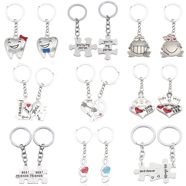 b2af78600d I Love You Couple Keychain You Are My Person Rabbit Frog Cups Key Chain  Animal Heart