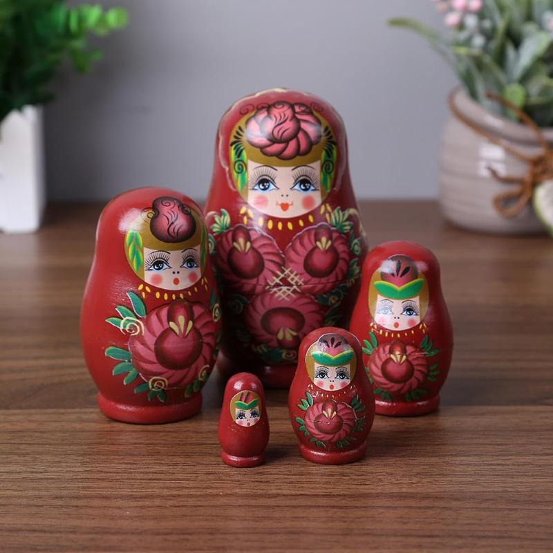 5 Layer Novelty Russian Nesting Doll Wooden Matryoshka Set Hand Painted Girl Handmade Toys Cute Girl Russian Nesting Dolls Gifts