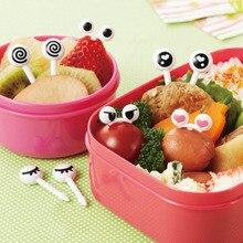50 шт., разные фруктовые вилки, многоразовые Мультяшные глазки, мини милые палочки, вилка для Bento Сэндвич-закусок