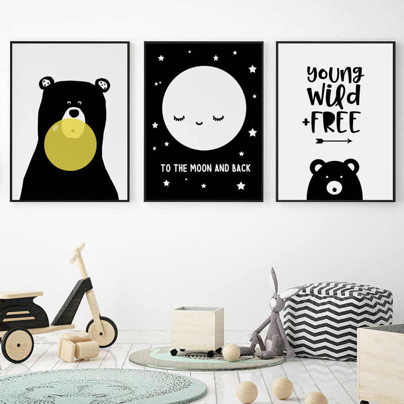 Baby Nursery Wall Art Canvas Posters Black And White Bear Prints Cartoon Nordic Kids Decoration Picture Children Bedroom Decor